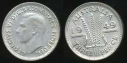 World Coins - Australia, 1949 Threepence, 3d, George VI (Silver) - Very Fine/Extra Fine