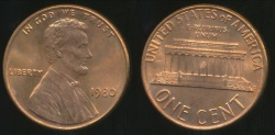 World Coins - United States, 1980 One Cent, Lincoln Memorial - Uncirculated