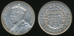 World Coins - New Zealand, 1935 1/2 Crown, George V (Silver) - good Extra Fine/almost Uncirculated