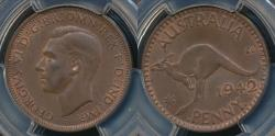 World Coins - Australia, 1942(I) One Penny, 1d, George VI - PCGS MS63BN (Ch-Unc)