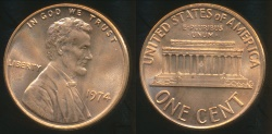 World Coins - United States, 1974 One Cent, Lincoln Memorial - Uncirculated