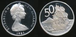 World Coins - New Zealand, 1981 Fifty Cents, 50c, Elizabeth II - Proof