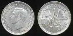 World Coins - Australia, 1951(pl) Threepence, 3d, George VI (Silver) - Uncirculated