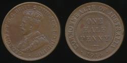 World Coins - Australia, 1914 Halfpenny, 1/2d, George V - Extra Fine