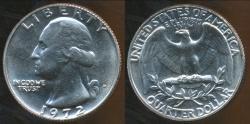 World Coins - United States, 1972-D Quarter, 1/4 Dollar, Washington - Choice Uncirculated