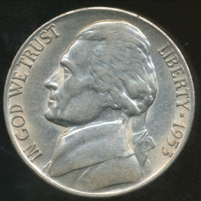 World Coins - United States, 1953-S 5 Cents, Jefferson Nickel - Uncirculated