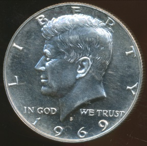 World Coins - United States, 1969-S Half Dollar, Kennedy (Silver) - Proof