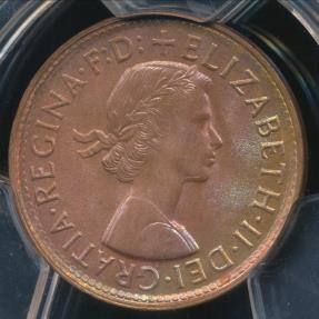 World Coins - Australia, 1961(p) Halfpenny, 1/2d, Elizabeth II - PCGS MS64RB (Ch-Unc)