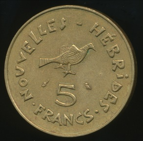 World Coins - New Hebrides, French/British Condominium, 1970 5 Francs - Very Fine