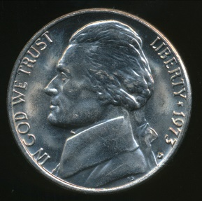World Coins - United States, 1973-D 5 Cents, Jefferson Nickel - Uncirculated