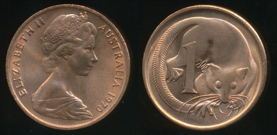 Australia Uncirculated 1970 One Cent 1c Elizabeth II