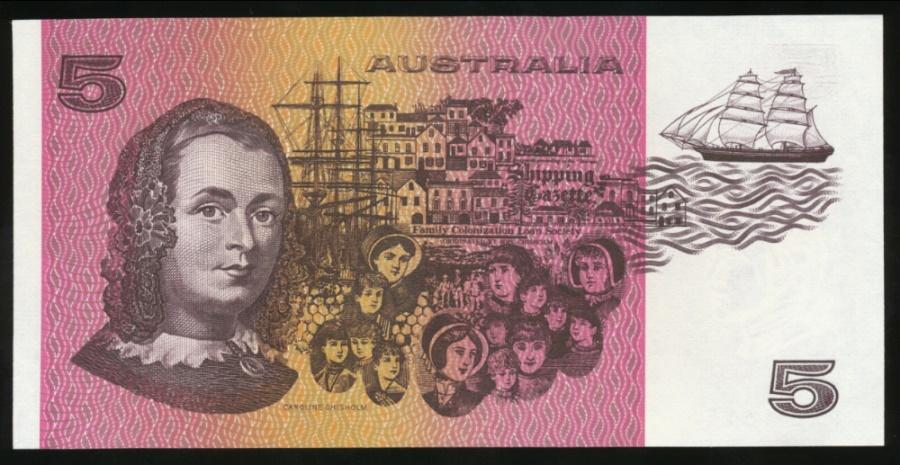 Australia 1985 Five Dollars $5 Paper Banknote Johnston//Fraser R209a OCR-B aUNC