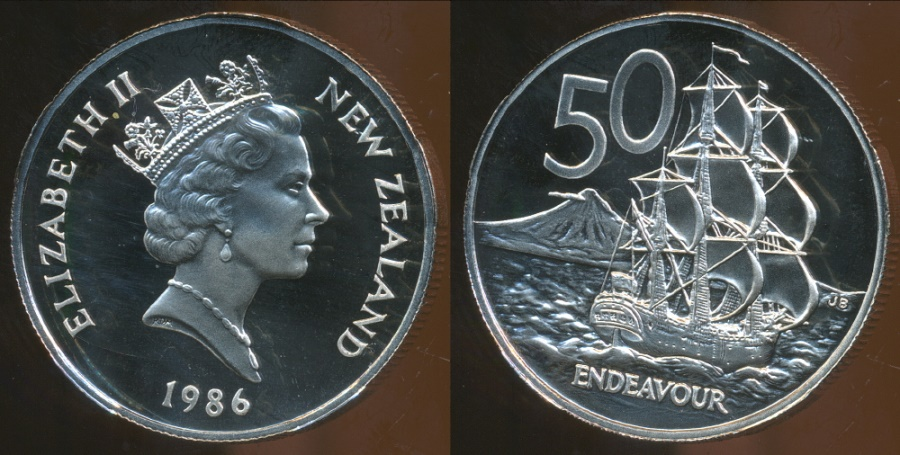 World Coins - New Zealand, 1986 Fifty Cents, 50c, Elizabeth II - Proof