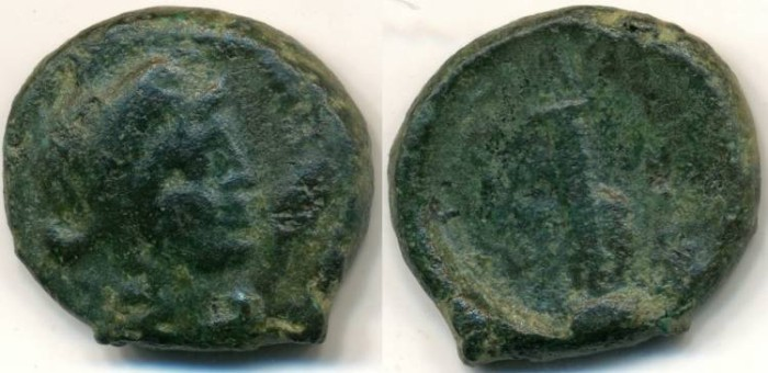 Ancient Coins - Macedonia Thessalonica, AE-17, 187-31 BC (17mm, 5.26 g) - SNGCop 358