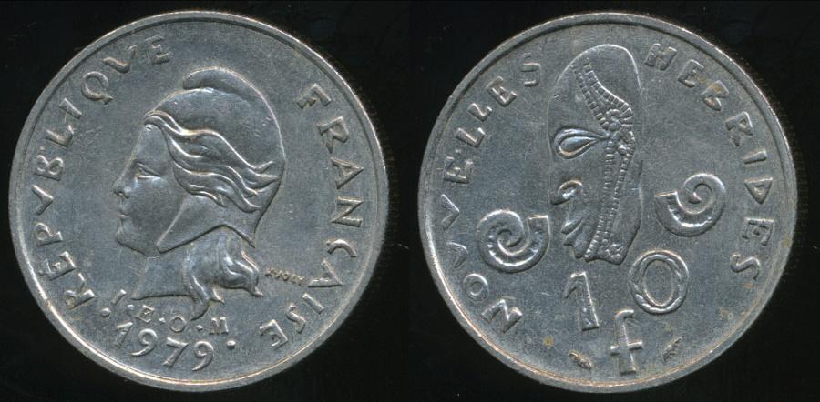 World Coins - New Hebrides, French/British Condominium, 1979 10 Francs - Very Fine