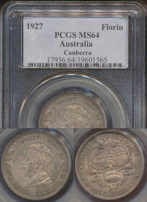 World Coins - Australia, 1927 (Canberra) Florin, George V - PCGS MS64
