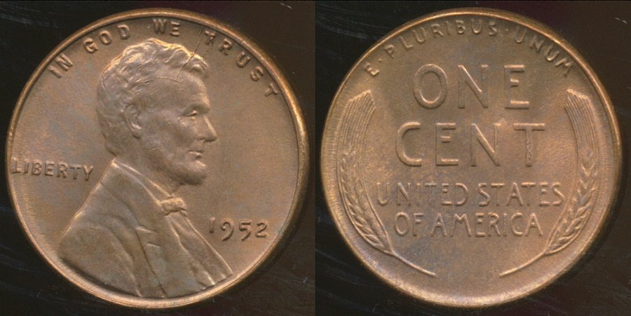 World Coins - United States, 1952 One Cent, Lincoln Wheat - Uncirculated