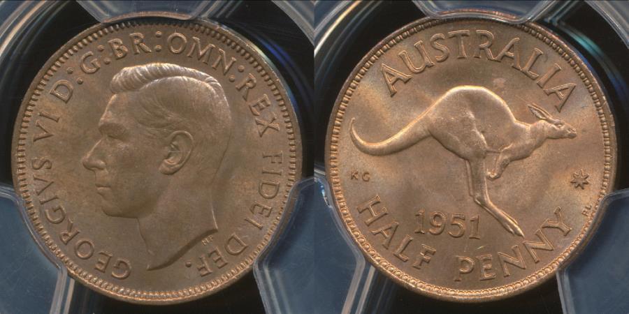 World Coins - Australia, 1951(pl) Halfpenny, 1/2d, Elizabeth II - PCGS MS64RB (Ch-Unc)