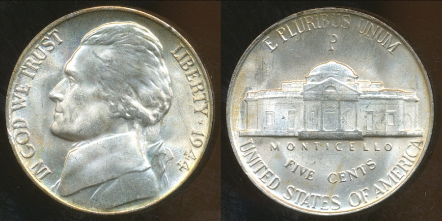 United States 1944 P 5 Cents Jefferson Nickel Silver