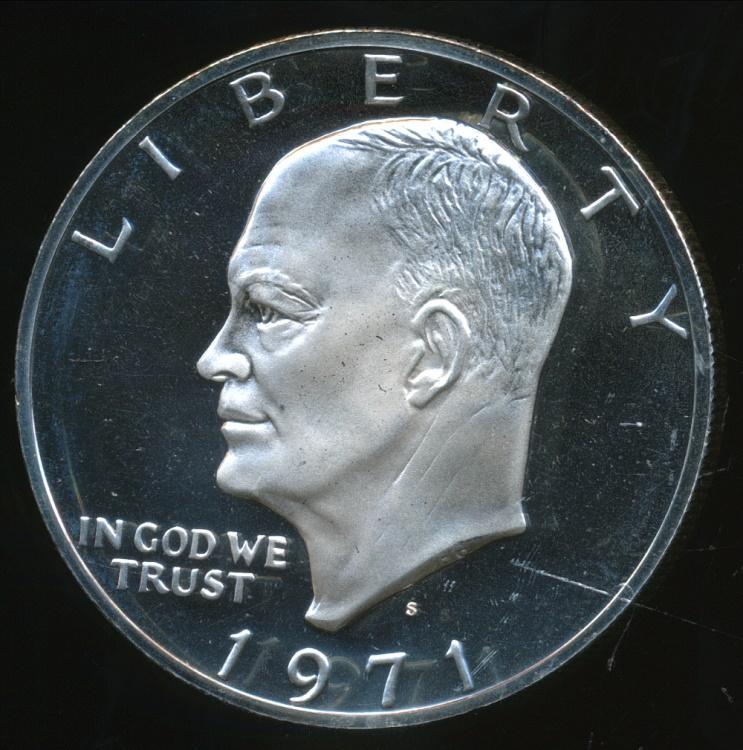 United States 1971 S One Dollar 1 Eisenhower Silver