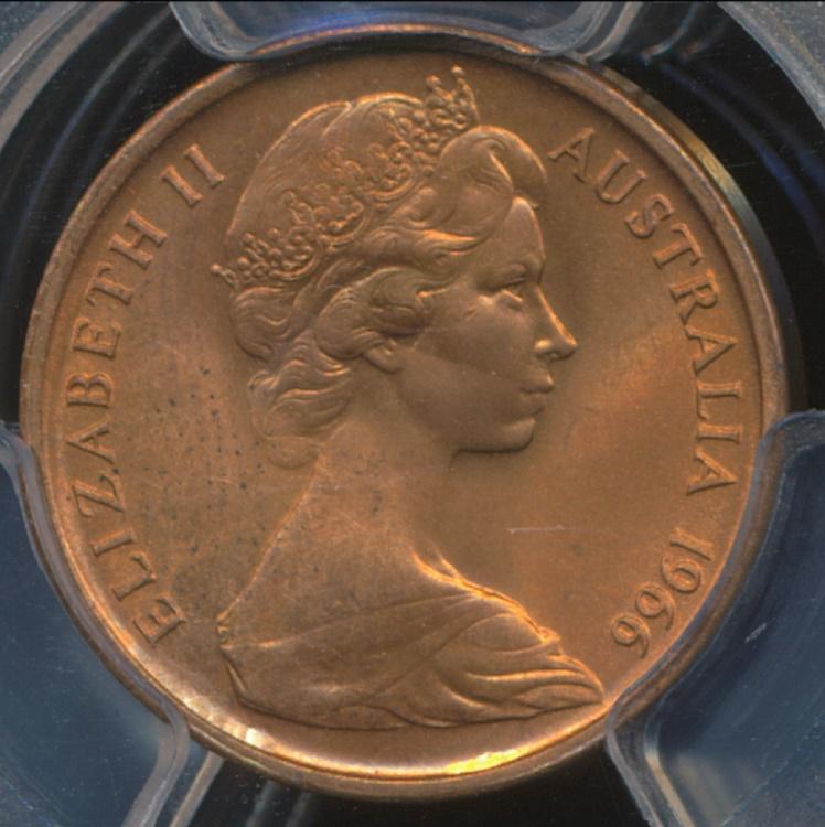 Australia 1966 M 1C One Cent PCGS MS66RD