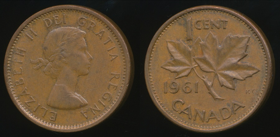 Canada Group Of 3 Coins 1959 1960 1961 One Cent 1c Circulated