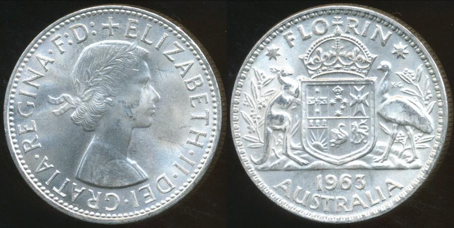 World Coins - Australia, 1963 Florin, Elizabeth II (Silver) - Uncirculated