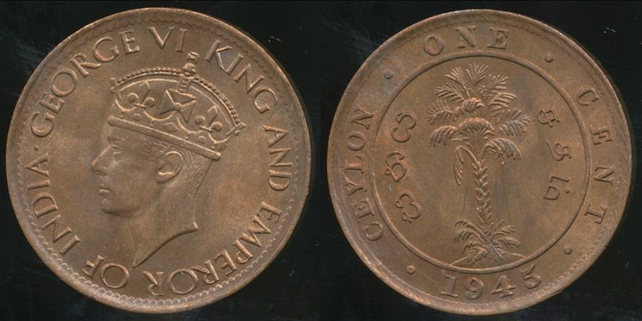 World Coins - Ceylon, British Colony, George VI, 1945 Cent - Uncirculated