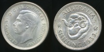 World Coins - Australia, 1938 One Shilling, 1/-, George VI (Silver) - Uncirculated