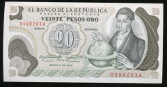 World Coins - Colombia, Republic, 20 Pesos Oro, 1983, P#409b - Uncirculated