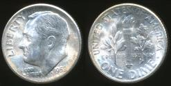 World Coins - United States, 1952-S Dime, Roosevelt (Silver) - Uncirculated
