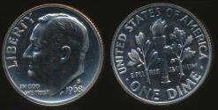 World Coins - United States, 1968-S Dime, Roosevelt - Proof