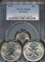 World Coins - Australia, 1971 Canberra 5 Cent, Elizabeth II - PCGS MS66