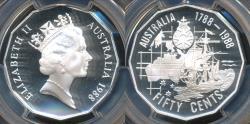 World Coins - Australia, 1988 Fifty Cents, 50c, Elizabeth II (Silver) - PCGS PR69DCAM (Proof)