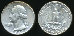 World Coins - United States, 1942 Quarter Dollar, Washington (Silver) - Uncirculated