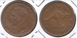 World Coins - Australia, 1946(p) Halfpenny, 1/2d, George VI - Extra Fine