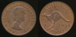 World Coins - Australia, 1964(p) One Penny, 1d, Elizabeth II - Extra Fine