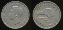 World Coins - New Zealand, 1950 Florin, 2/-, George VI - Very Fine