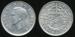 World Coins - New Zealand, 1943 1/2 Crown, George VI (Silver) - Extra Fine