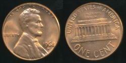 World Coins - United States, 1968-D One Cent, Lincoln Memorial - Choice Uncirculated