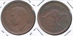 World Coins - Australia, 1952(p) Halfpenny, 1/2d, George VI - Uncirculated