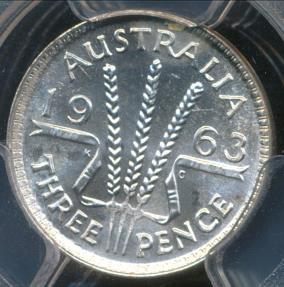 World Coins - Australia, 1963(m) Threepence, 3d, Elizabeth II (Silver) - PCGS MS66 (Gem Unc)