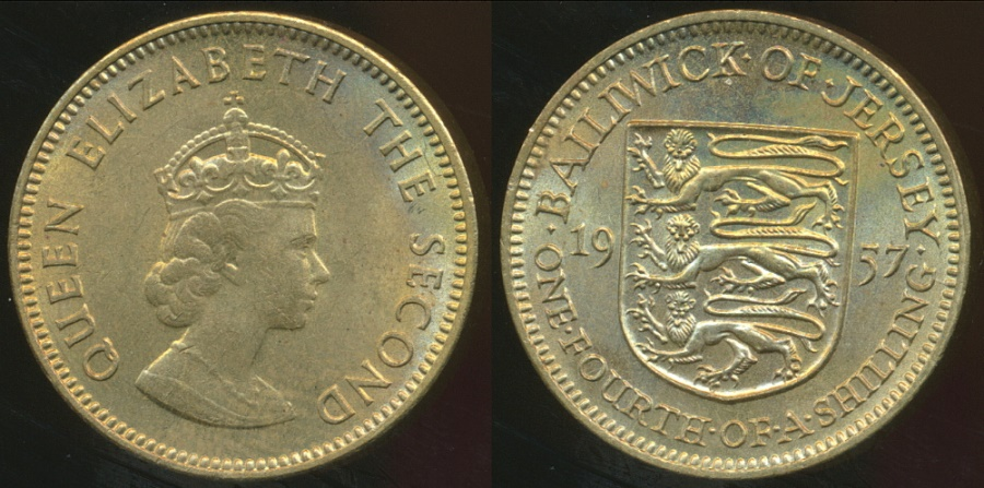 World Coins Jersey British Dependency Elizabeth Ii 1957 1 4 Shilling