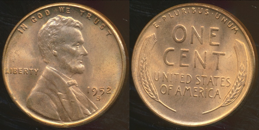 World Coins - United States, 1952-S One Cent, Lincoln Wheat - Choice Uncirculated