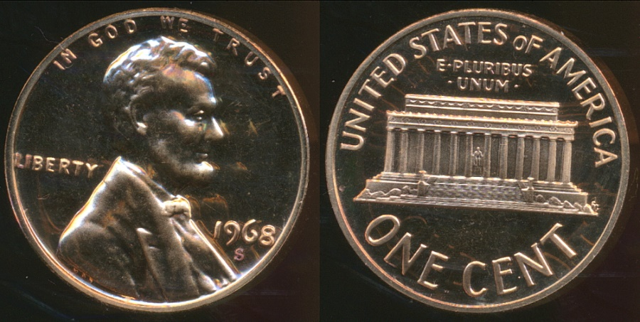 World Coins - United States, 1968-S One Cent, Lincoln Memorial - Proof