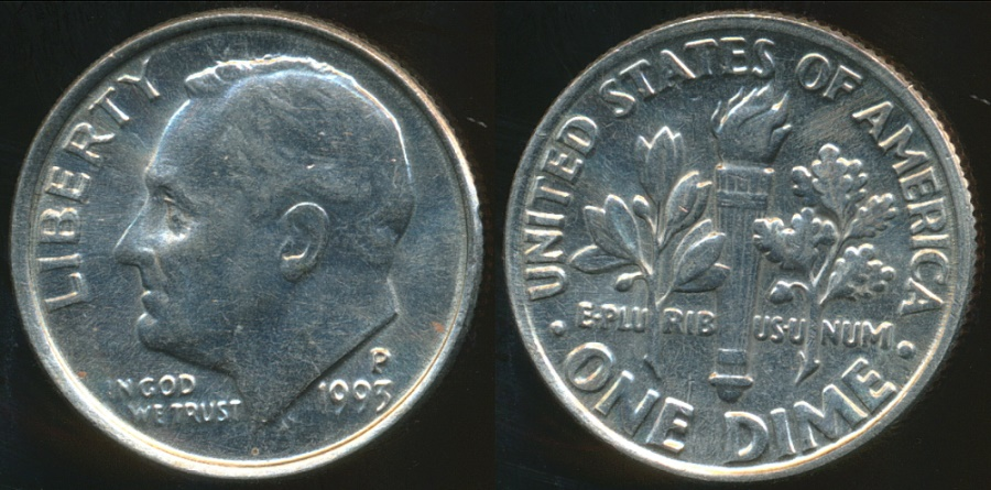 World Coins - United States, 1993-P Dime, Roosevelt - Uncirculated