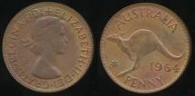World Coins - Australia, 1964(p) One Penny, 1d, Elizabeth II - Uncirculated