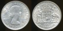 World Coins - Australia, 1960 Florin, 2/-, Elizabeth II (Silver) - Uncirculated