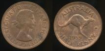World Coins - Australia, 1959 Halfpenny, 1/2d, Elizabeth II - Uncirculated