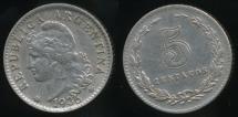 World Coins - Argentina, Republic, 1936, 5 Centavos - Extra Fine